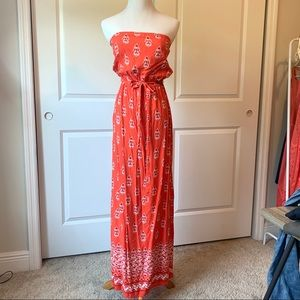 Old navy orange strapless maxi dress with print